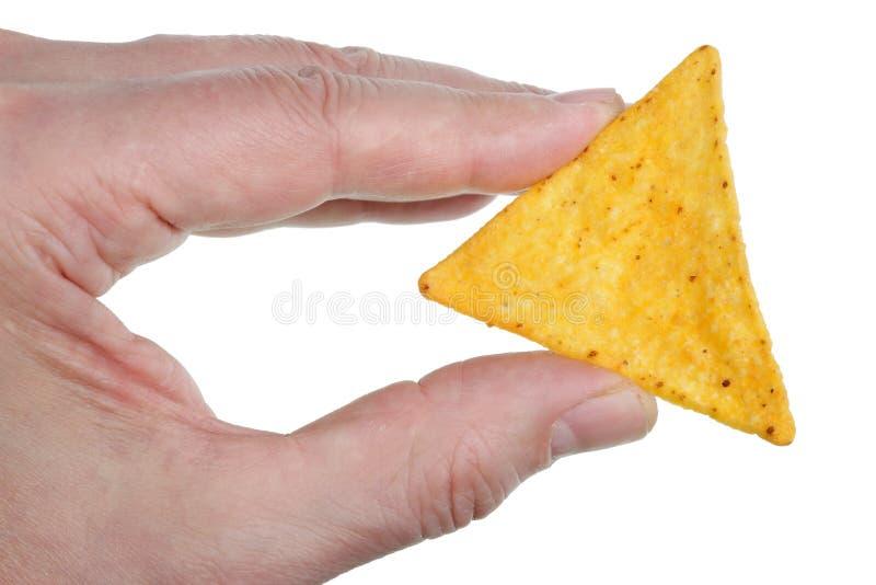 Coock guarda à disposição a microplaqueta de tortilha triangular do milho com o queijo e o pimentão isolados foto de stock royalty free