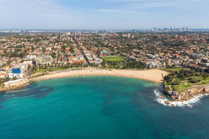 Coogee Beach aerial view Sydney NSW AUstralia. Aerial view of Coogee Beach - Sydney NSW Australia. One of Sydney`s best beaches located in the Eastern Suburbs of stock images