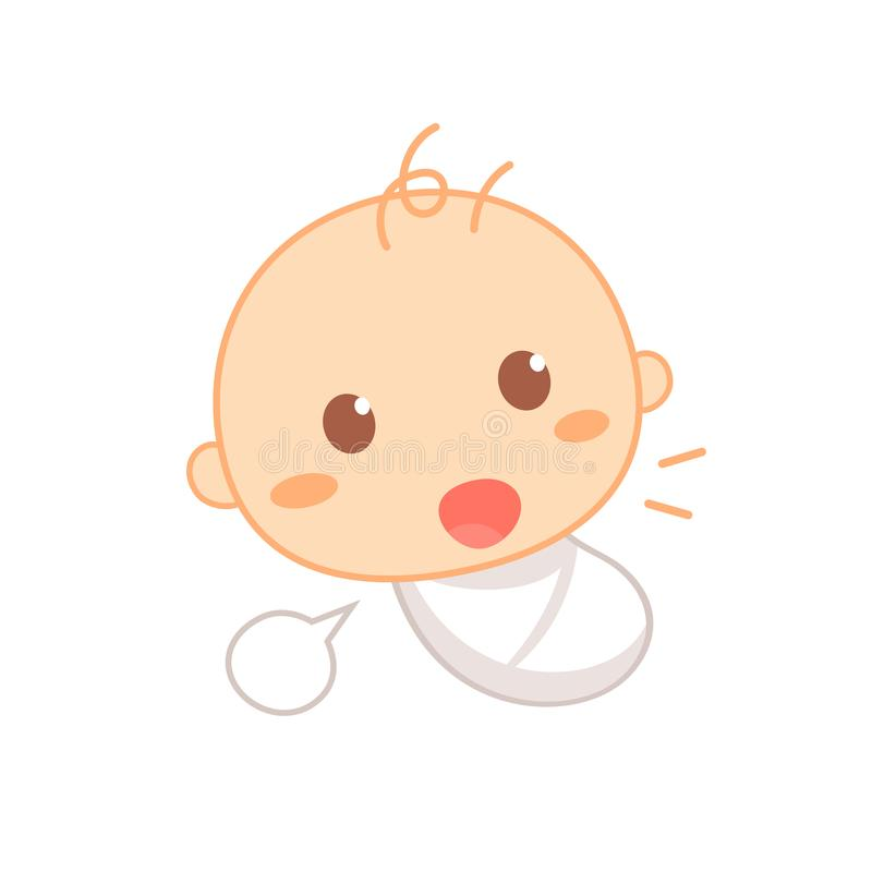 Cooing baby. Cute baby milestone. vector illustration