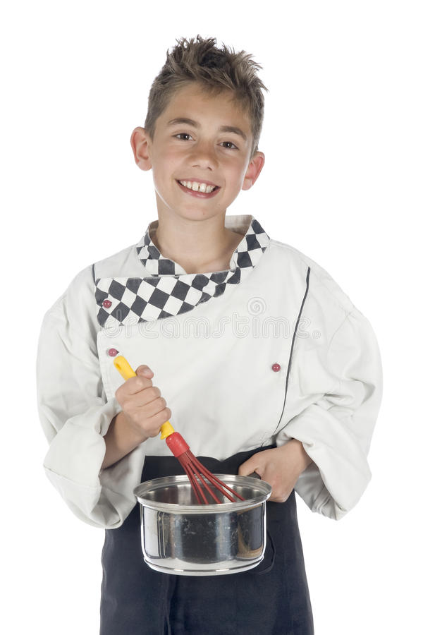 Cook. A crazy cook, in a Chefs tube stock images
