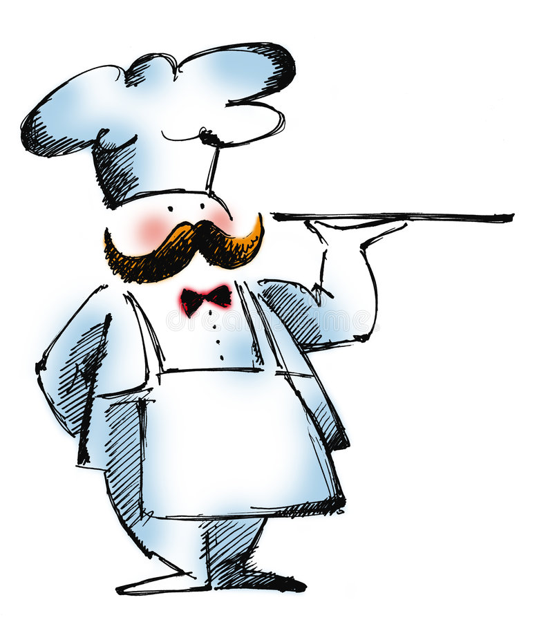 Cook. Cartoon illustration of a head-cook with a tray at white background royalty free illustration