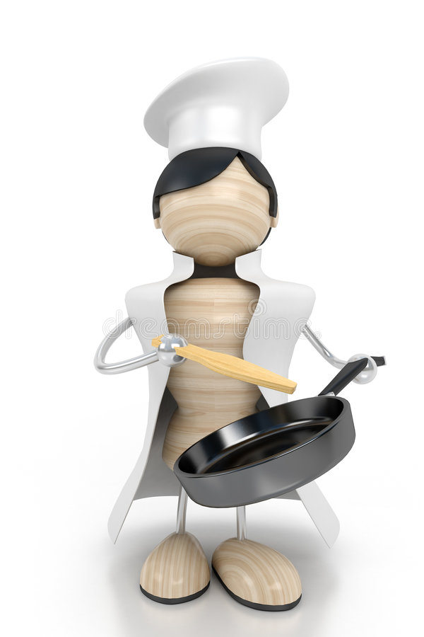 Cook. With a frying pan vector illustration