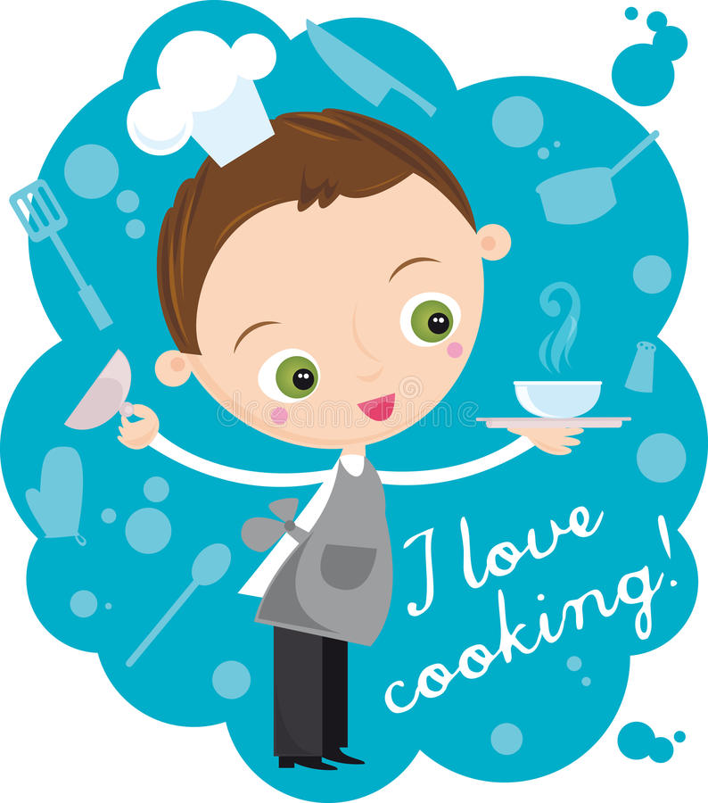 Cook. Illustration of young cook with plate on the blue background