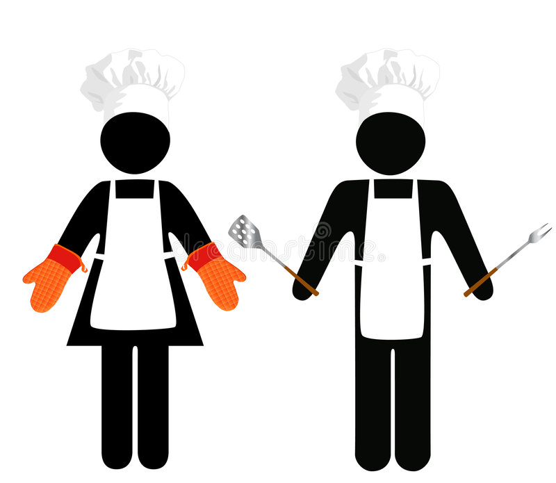 Cook Barbecue Symbol People royalty free illustration