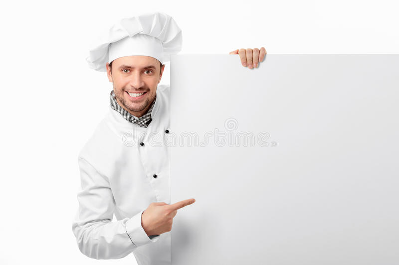 Cook with blank board stock image