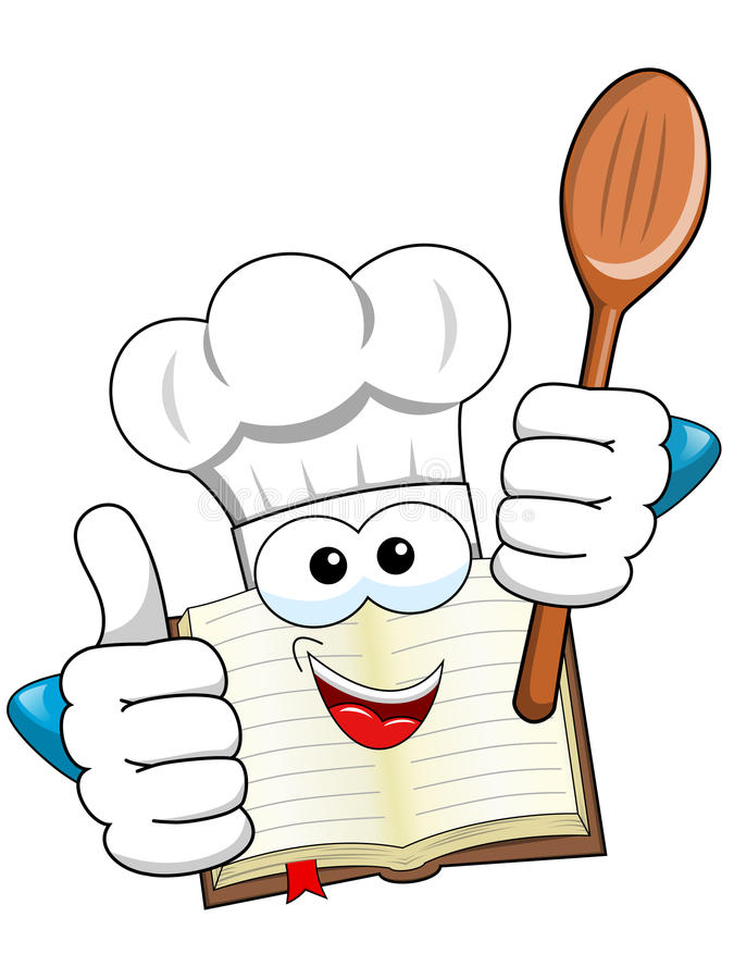 Cook book mascot thumb up wooden spoon isolated. Cook book mascot thumb up holding wooden spoon isolated royalty free illustration