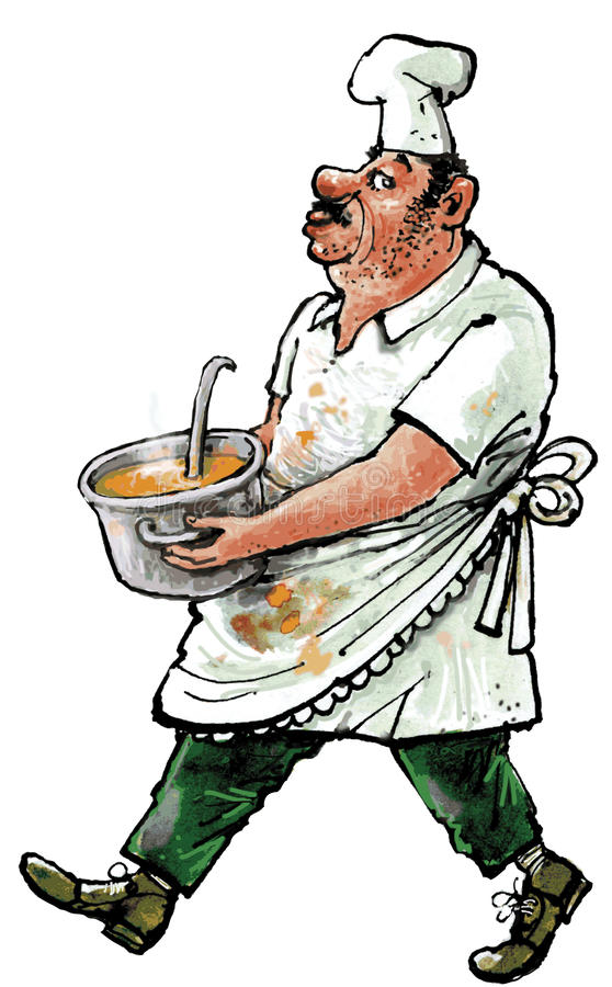 Cook with bowl of soup. Cook with soiled clothing carrying a bowl of soup stock illustration