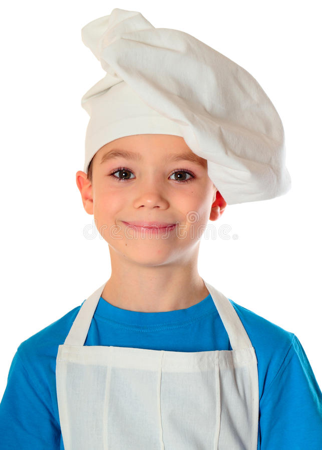 Cook boy. Six years old cook boy isolated on white stock images