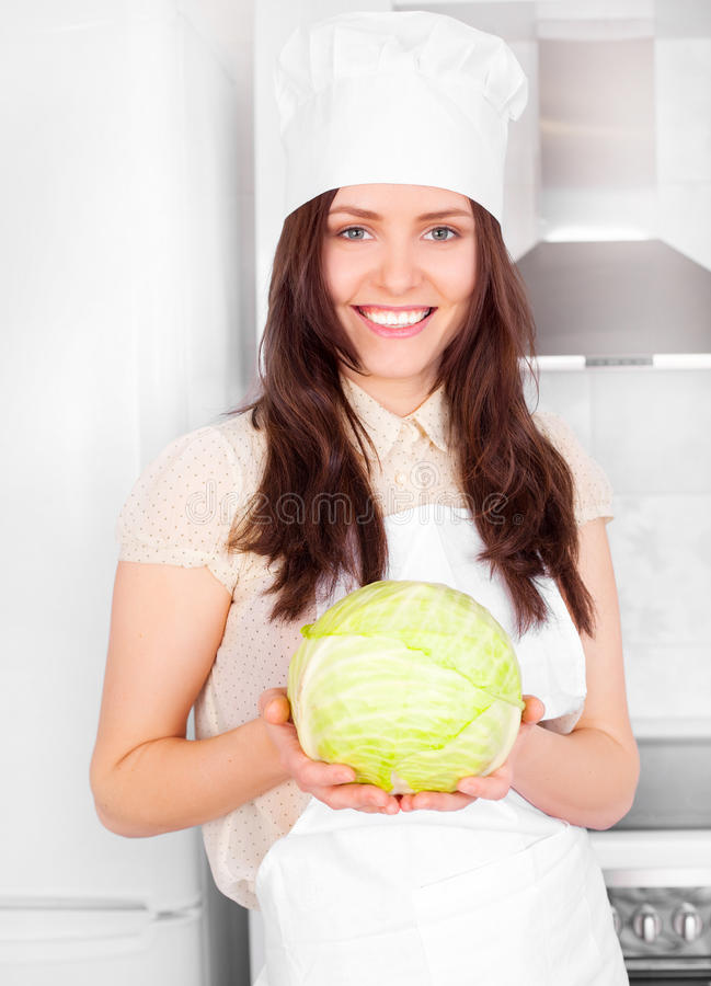 Download Cook with cabbage stock image. Image of happy, cheerful - 17715209
