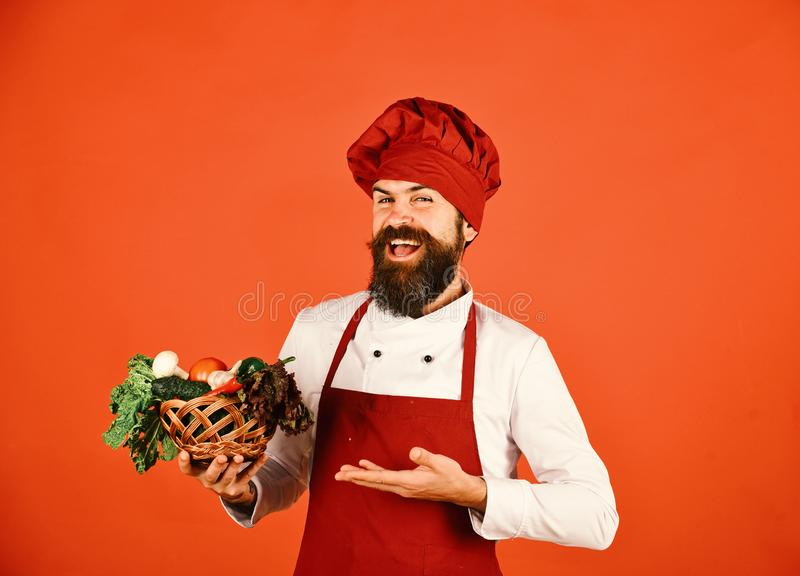 Cook with cheerful face in burgundy uniform presents vegetables. In wicker bowl. Chef holds lettuce, tomato, pepper and mushrooms. Man with beard on red stock photos