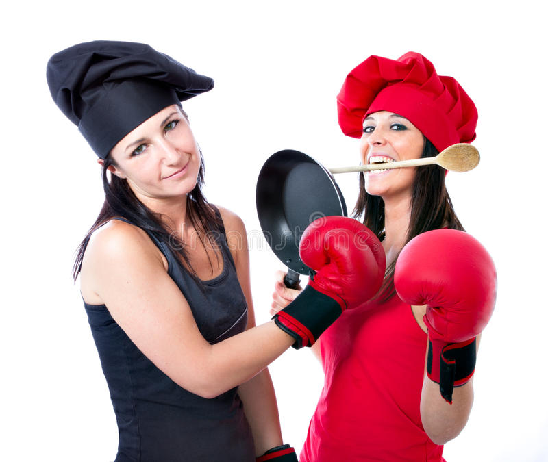 Cook chef boxing competition. White background stock images