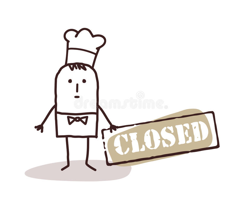 Cook chef with closed sign stock illustration