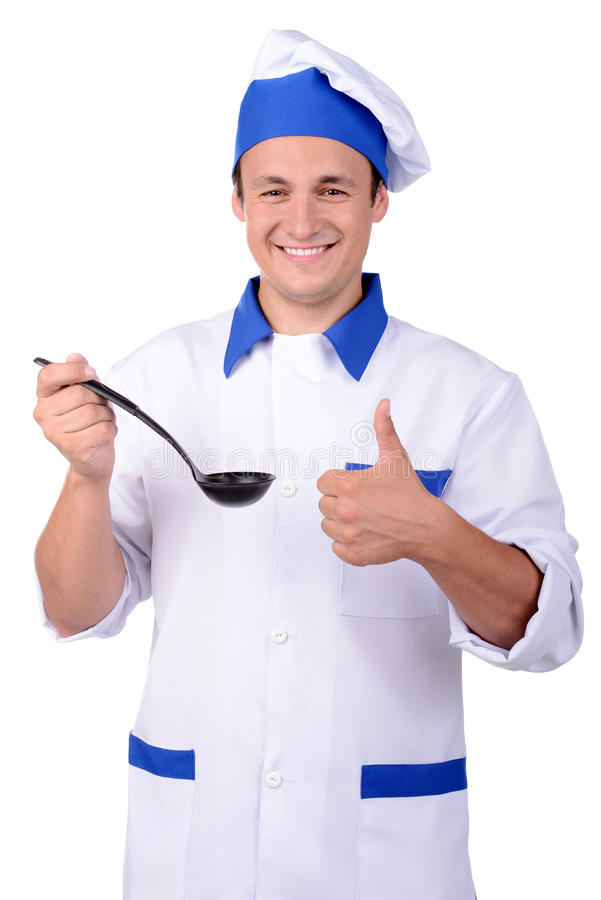 Cook. Chef cook with ladle isolated on white background royalty free stock photography