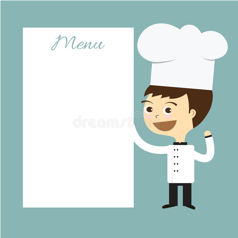 Cook chef smile with white menu banner vector. Cook man chef smile with white menu banner vector vector illustration