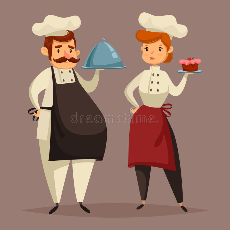 Cook chef in uniform, woman with plate in hand vector illustration