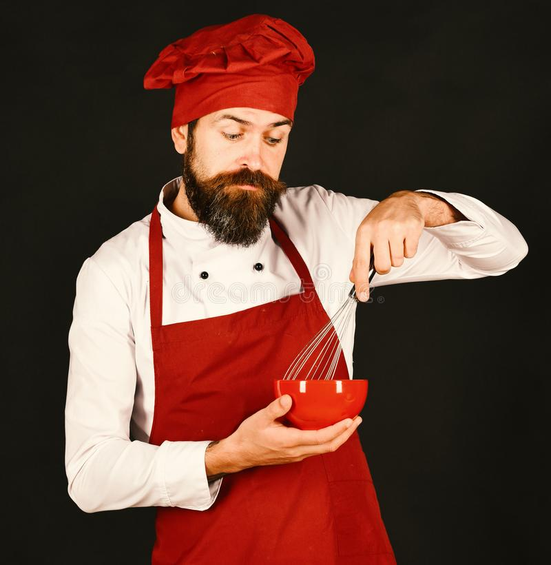 Cook with curious face in burgundy uniform holds bowl, whisk. Cook with curious face in burgundy hat and apron holds bowl and whisk. Man or hipster with beard royalty free stock photo