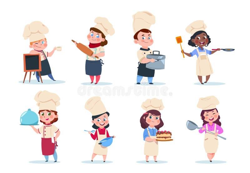 Cook dzieciaki Kreskówek dzieci przygotowania naczelny posiłek Kulinarnej klasy wektoru set royalty ilustracja