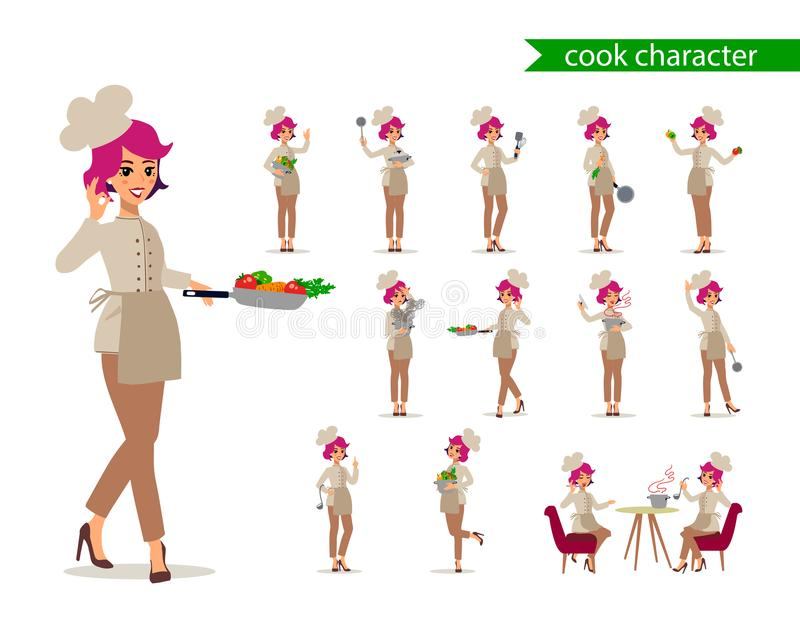 Cook female character vector design. Animate personage. Set of fun cartoon person. Isolated on white background. royalty free illustration
