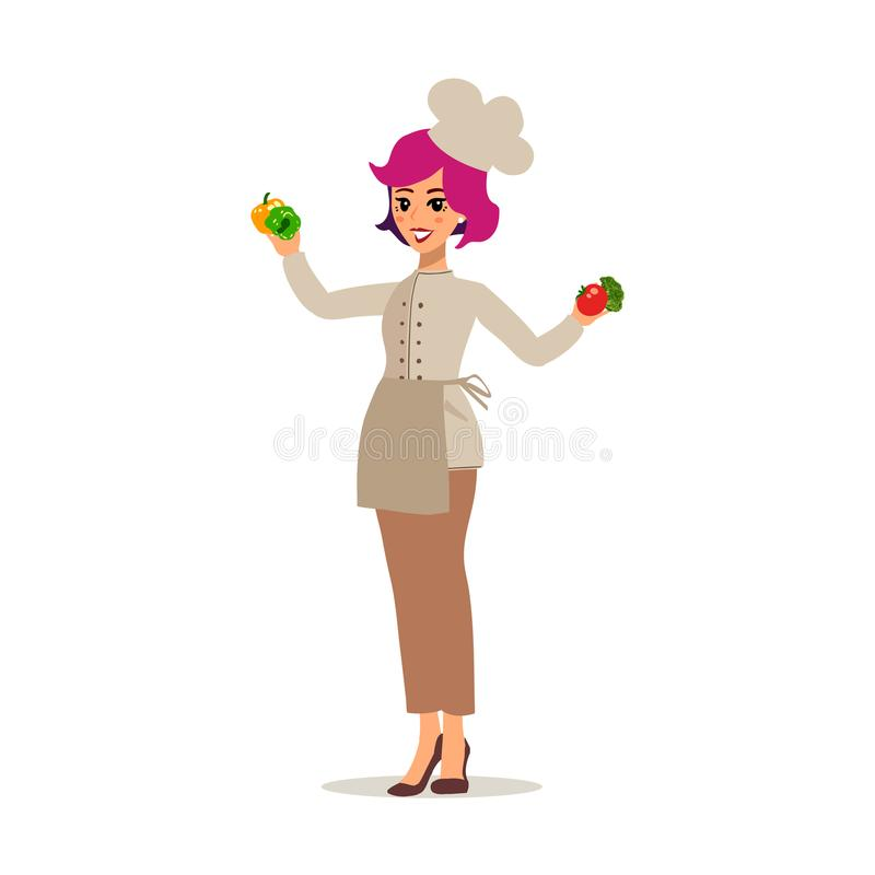 Cook female character vector design. Animate personage. Set of fun cartoon person. Isolated on white background. stock illustration