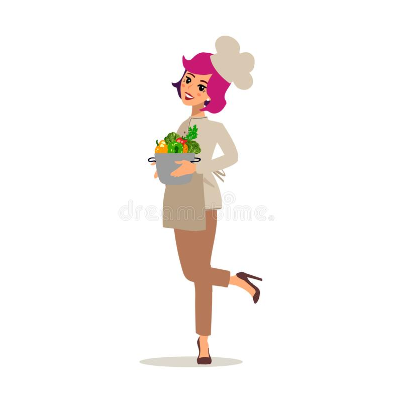 Cook female character vector design. Animate personage. Set of fun cartoon person. Isolated on white background. vector illustration