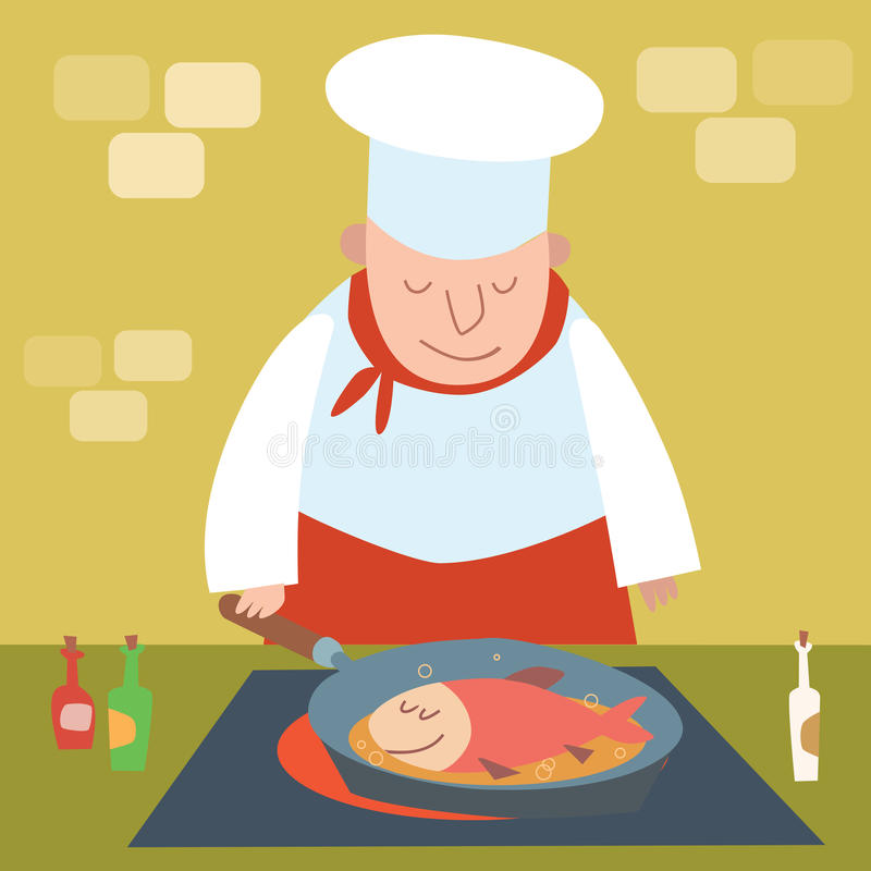 Cook fish fry. Chef restaurant in kitchen watching pan. Cook fish fry. Chef of the restaurant in the kitchen watching the pan. Food cooking vector illustration