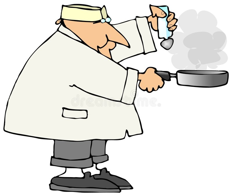 Cook With A Frying Pan royalty free illustration