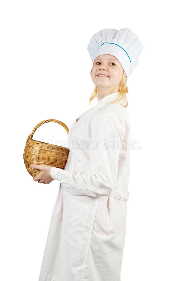Download Cook Girl  Holding  Wicker Basket Stock Image - Image of cookey, young: 14837677