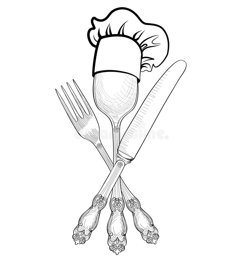 Cook hat over Spoon, Fork, Knife hand drawing sketch label. Cutlery icon collection. Vector Catering outdoor events and vector illustration