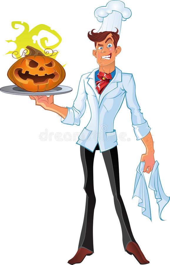 Cook from the hell with a halloween pumpkin stock images