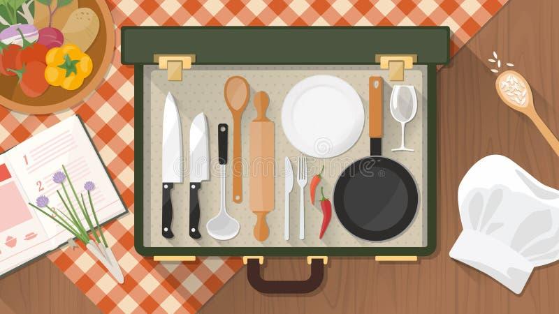 Cook i catering w domu ilustracji