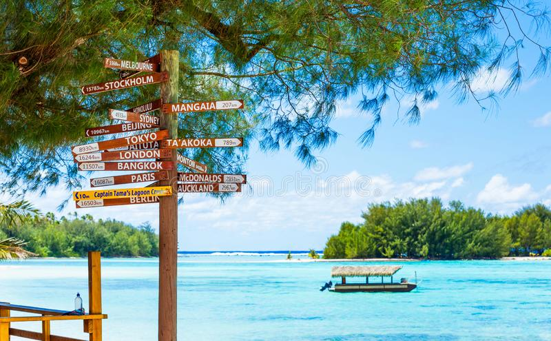 COOK ISLAND, SOUTH PACIFIC - SEPTEMBER 30, 2018: Wooden sign indicating the direction to different cities of the world. With selec stock image