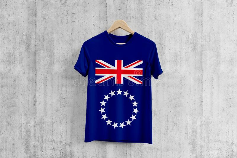 Cook Islands flag T-shirt on hanger, team uniform design idea for garment production. National wear royalty free illustration