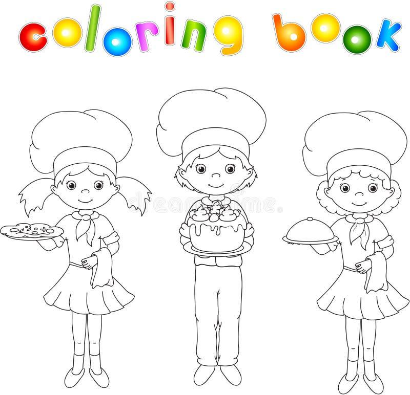 Cook, kelner, cukierniczka w ich mundurze książkowa kolorowa kolorystyki grafiki ilustracja ilustracji