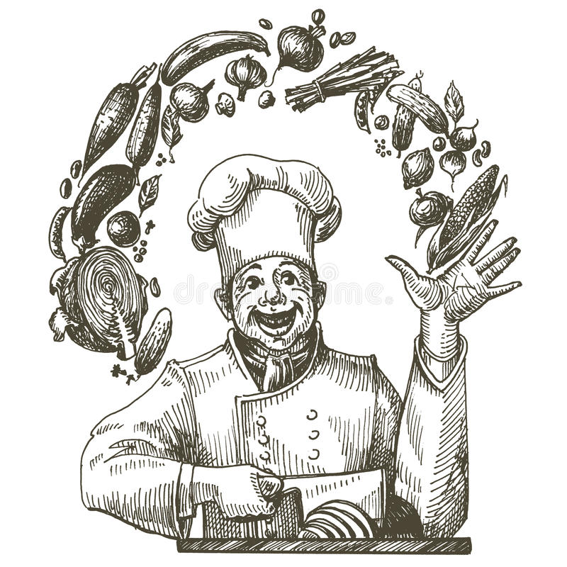 Cook In The Kitchen On A White Background. Sketch Stock