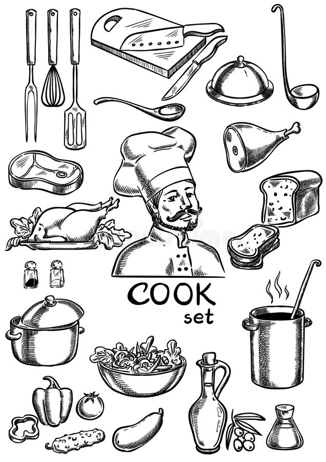 Cook, kuchnia, składniki i wyposażenie set, ilustracja wektor