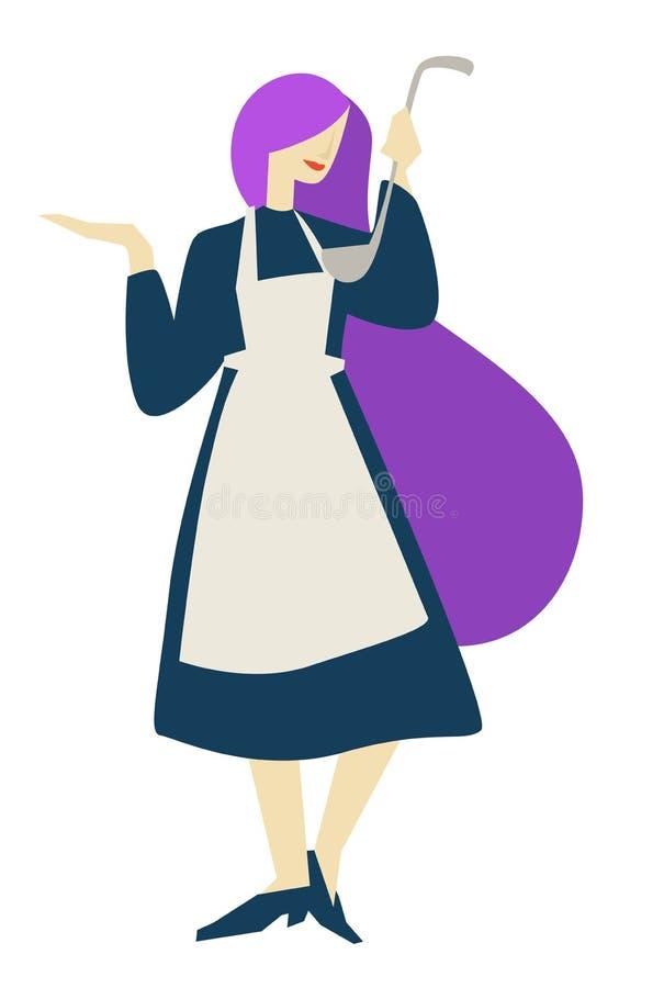 Cook lub gospodyń domowych kulinarnych klas kobieta z kopyścią odizolowywaliśmy żeńskiego charakteru ilustracji