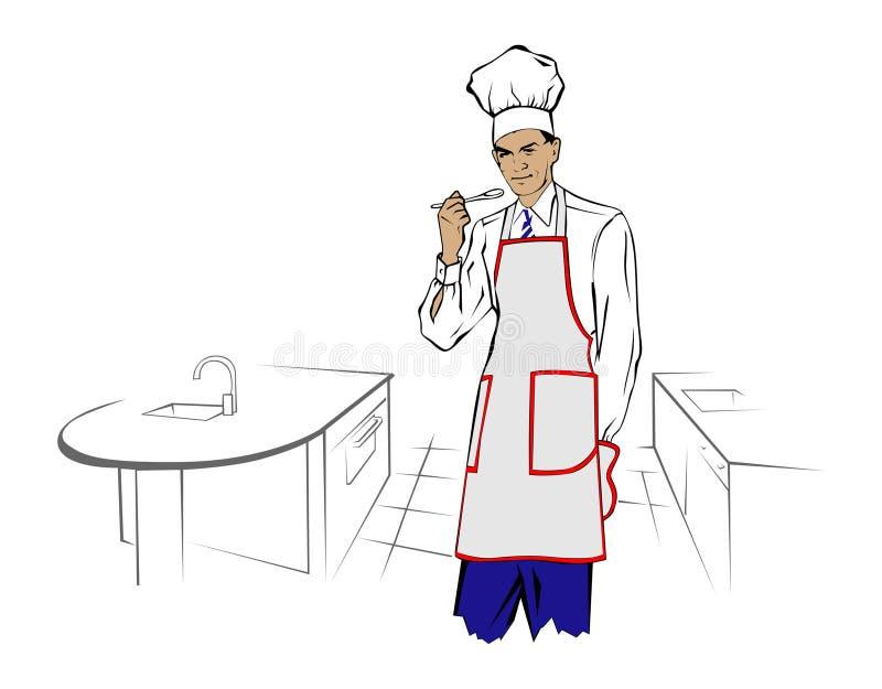 Download Cook man stock vector. Illustration of cartoon, dinner - 16602116