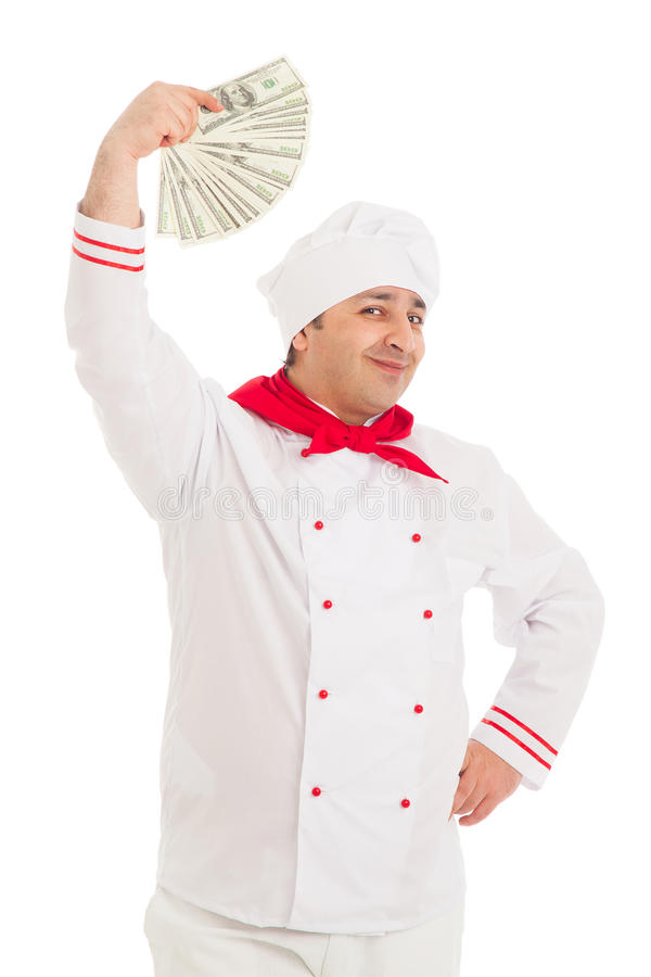 Download Cook Man Holding Fan Of Dollars Wearing White Uniform Stock Photo - Image: 30607142
