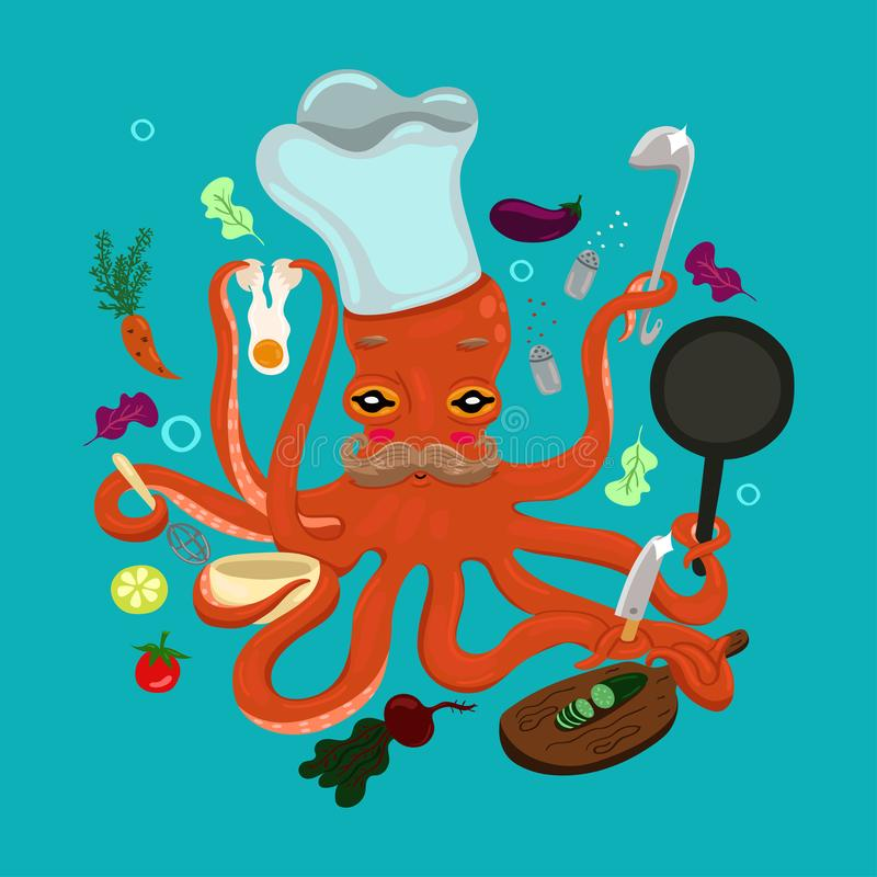 Cook - octopus is cooking. Cartoon style. vector. Cook - octopus is cooking. Cartoon style. eps 10 royalty free illustration