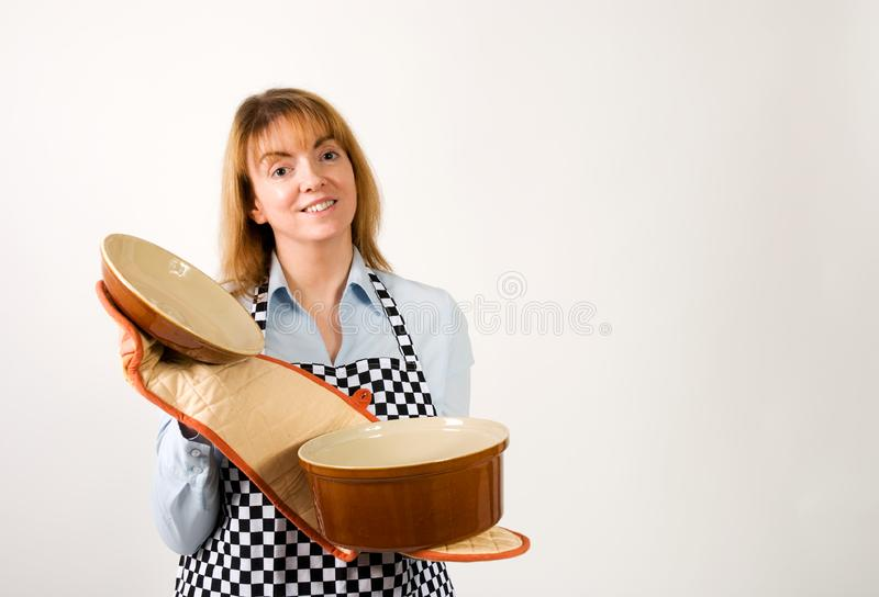 Download Cook opening pot stock image. Image of smiling, female - 17200719