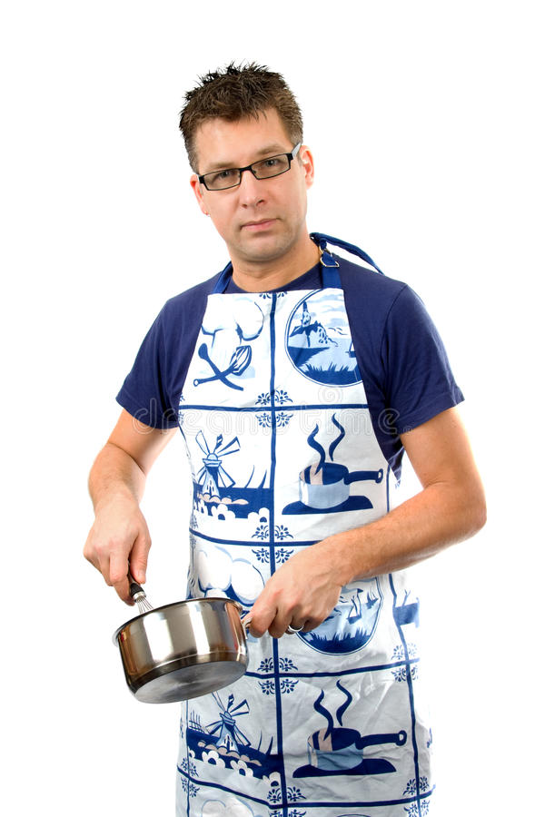 Download Cook with pan stock photo. Image of apron, cook, handsome - 11386484