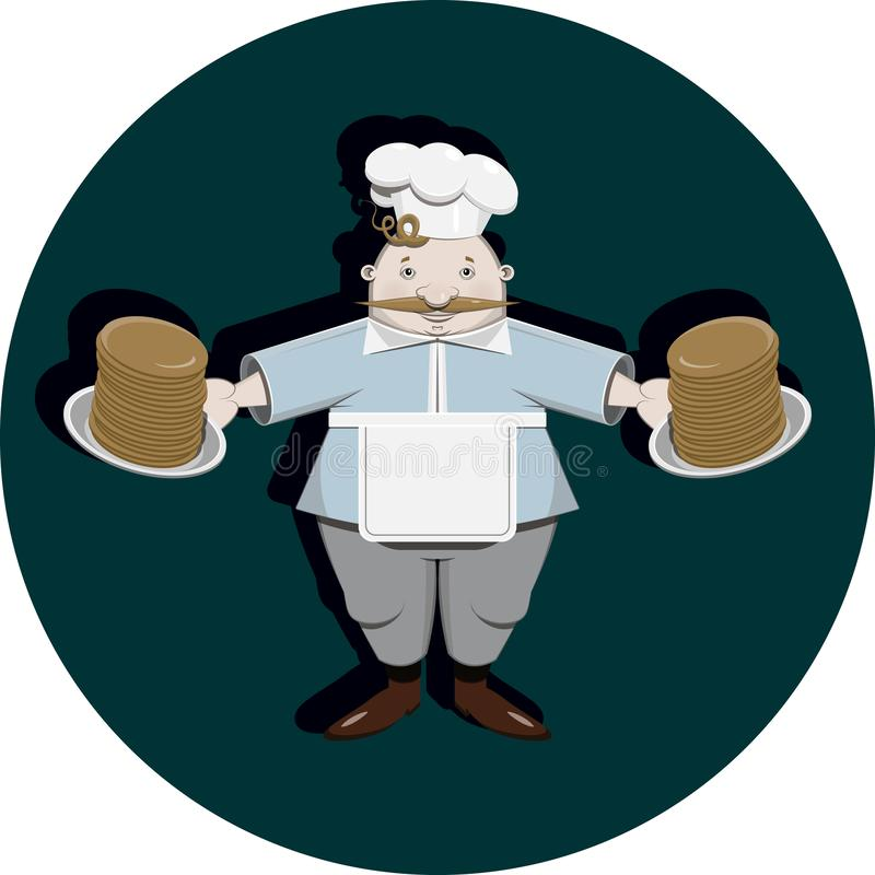 Cook with pancakes stock illustration