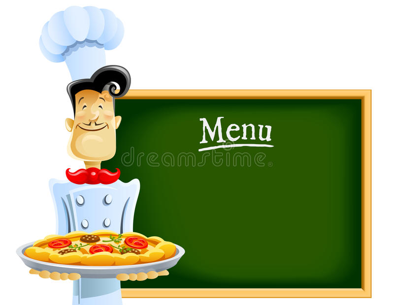 Download Cook with pizza and menu stock vector. Image of cartoon - 18378939
