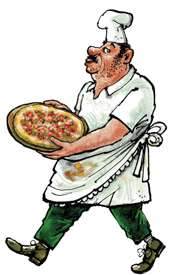 Cook with pizza. Cook with soiled clothing carrying a plate pizza vector illustration