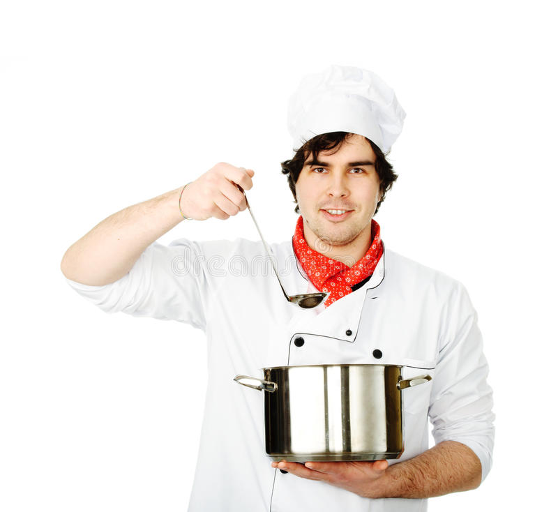 The cook prepares. In the big pan stock photo