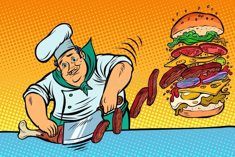 Cook przygotowywa hamburger Fast Food restauracja ilustracja wektor