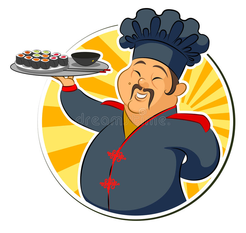 Cook restaurant. Japan. Sashimi. Vector illustration isolated on a white background royalty free illustration