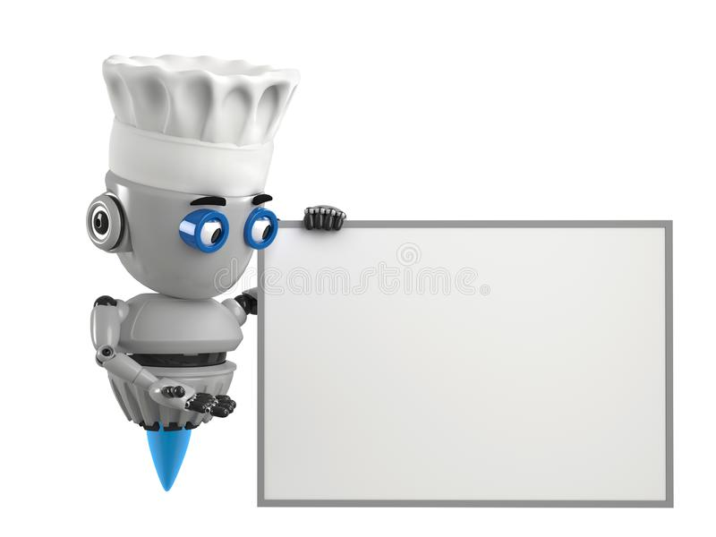 Cook robot shows on the empty board with white background. vector illustration