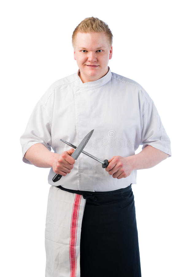 Download Cook sharpening stock image. Image of caucasian, adult - 24828829
