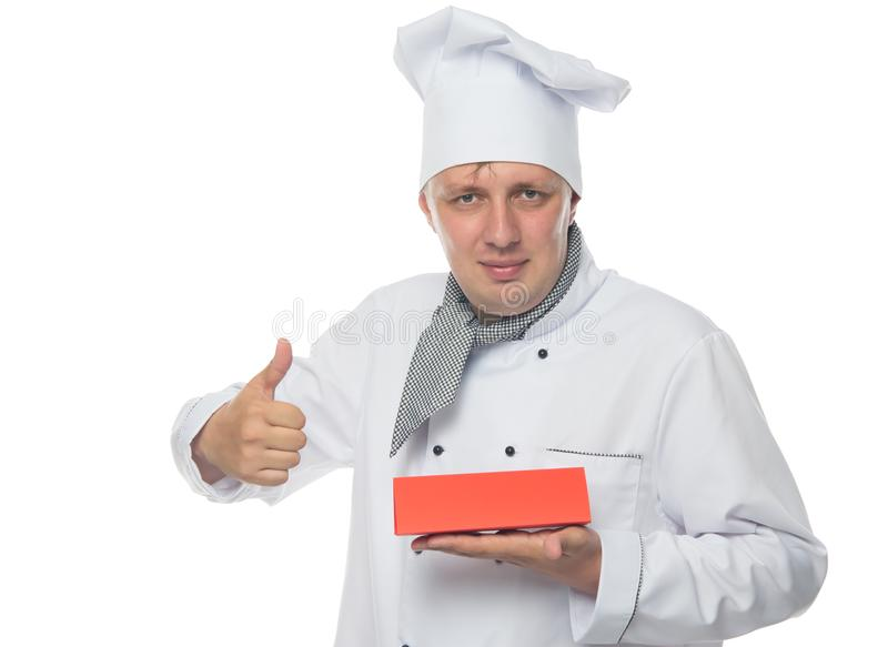 Cook, shows the class and holds a signboard, for the stock photo